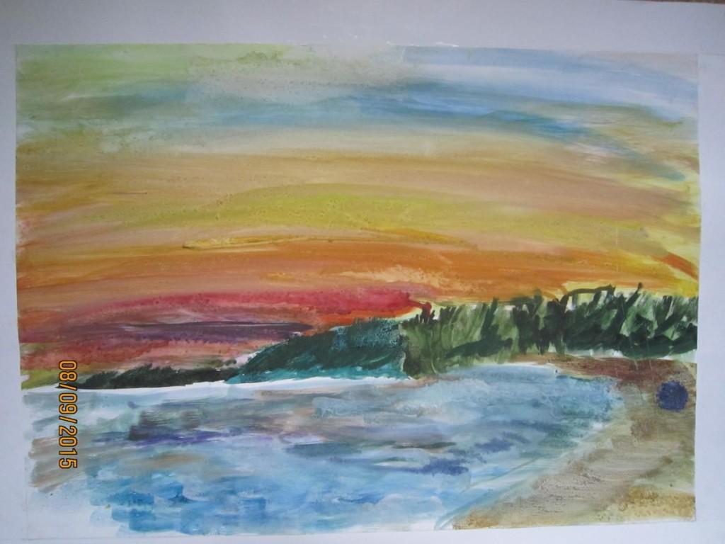 Ласковый пляж-закат 2 (гуашь)