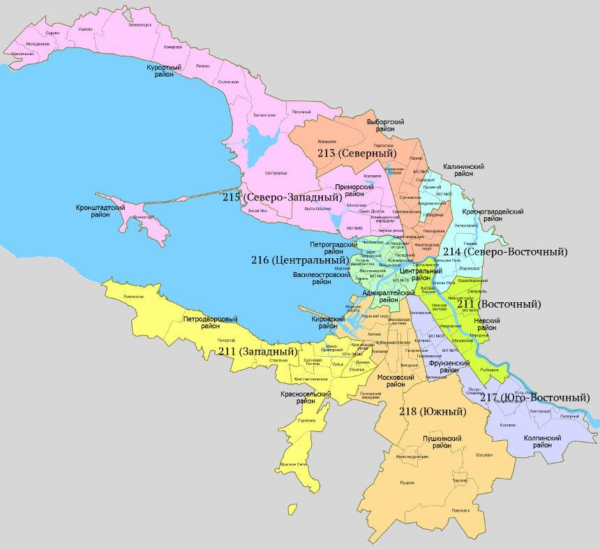 Схема избирательных округов для проведения выборов депутатов Госдумы в Санкт-Петербурге